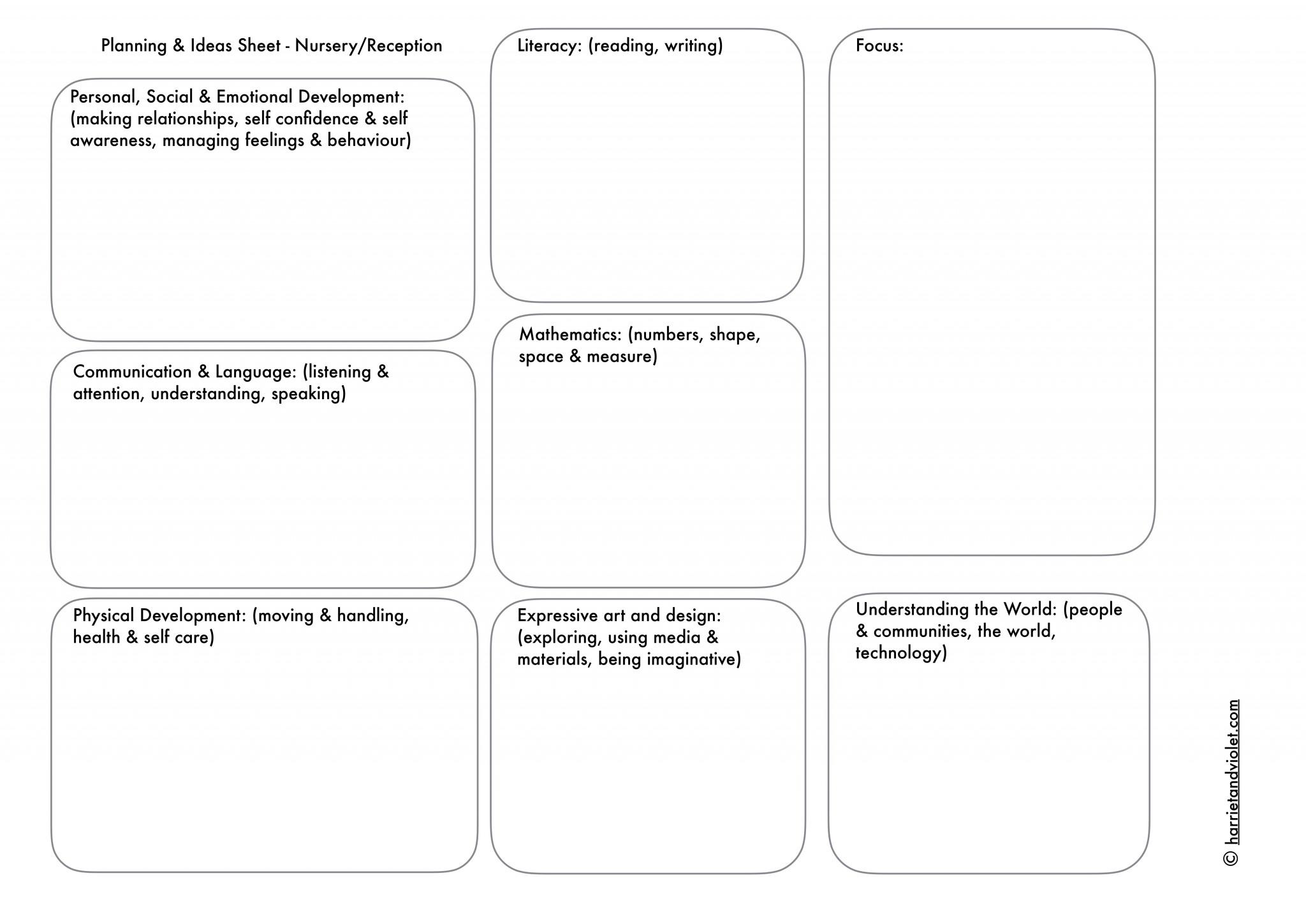 EYFS   reception/nursery ideas or planning sheet   Printable ...