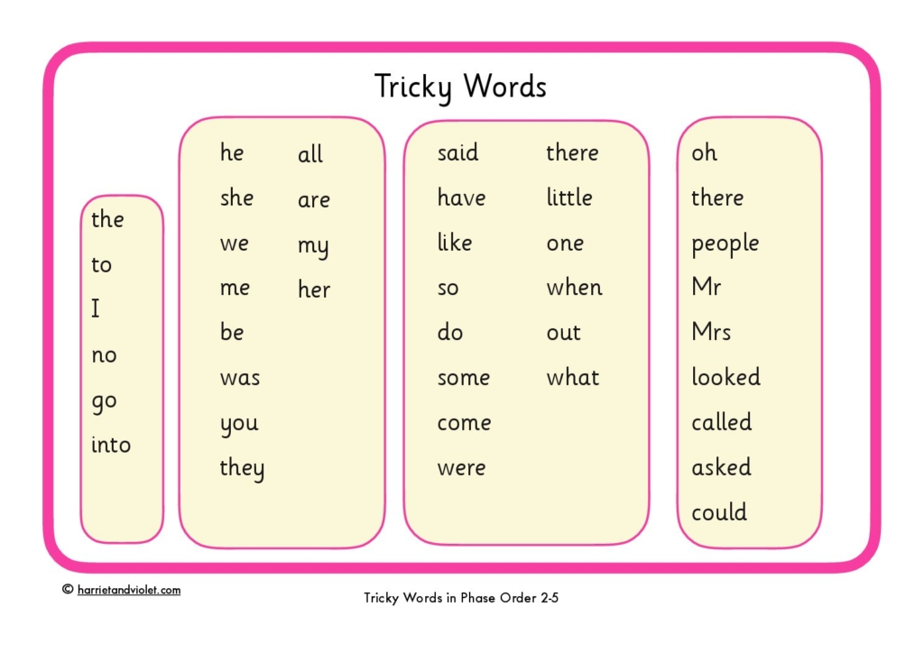 Image result for tricky words phonics reception
