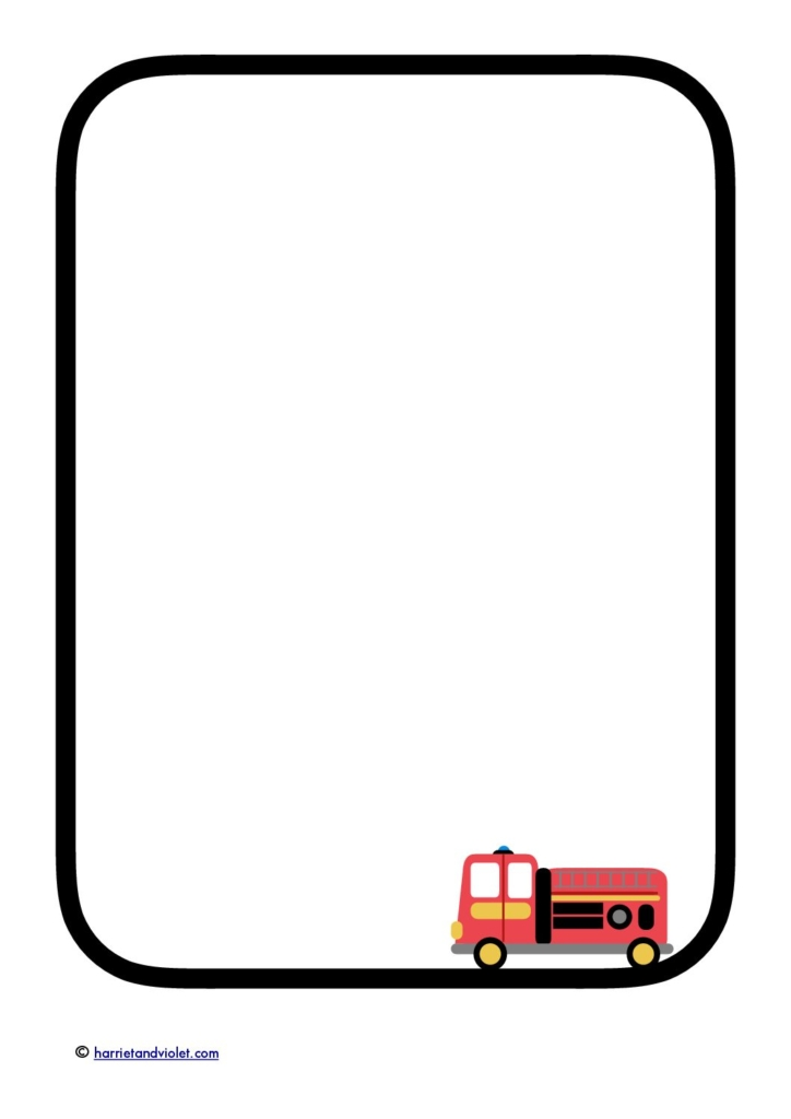 Fire Truck Fire engine border paper writing template A4 Free – Border Paper Template