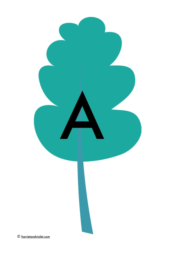 Leaf with capital A to make display lettering class display printplaylearn