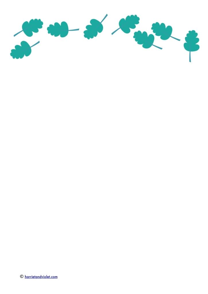 woodland leaf border paper for kids writing printplaylearn