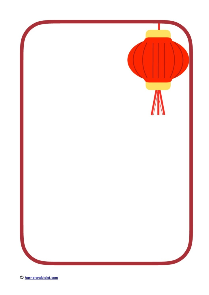 chinese new year border paper red lantern free teaching rh printplaylearn com chinese new year writing