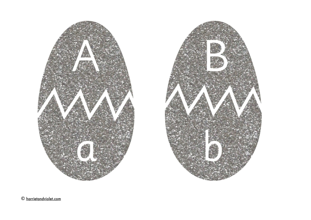 glitter easter eggs with upper and lower case lettering 2 eggs per page