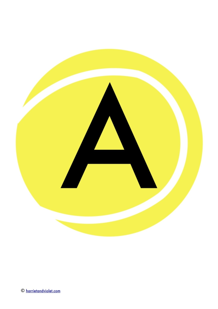 yellow illustration of a tennis ball with a capital A for classroom lettering