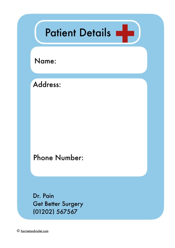 patient details for dr role play printplaylearn