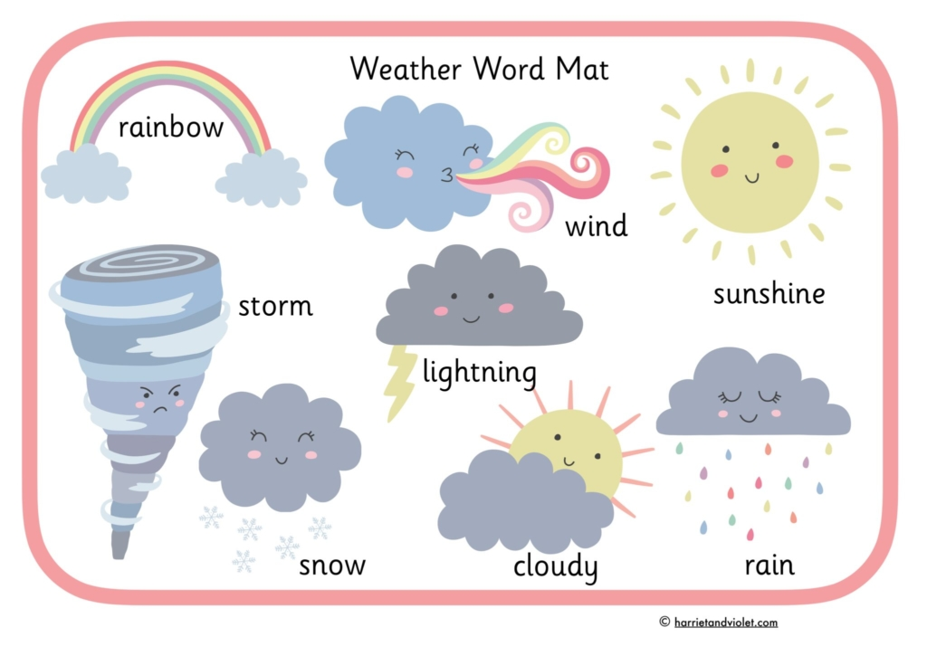 storm rainbow sun pictures on word mats
