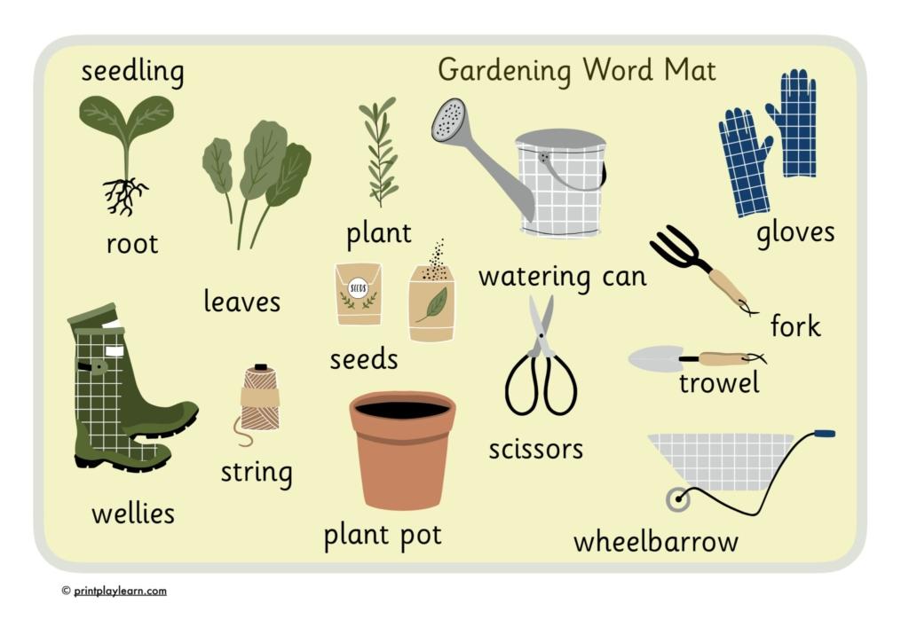 garden word mat for children with key words