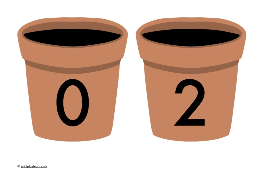 two plant pots with numbers on