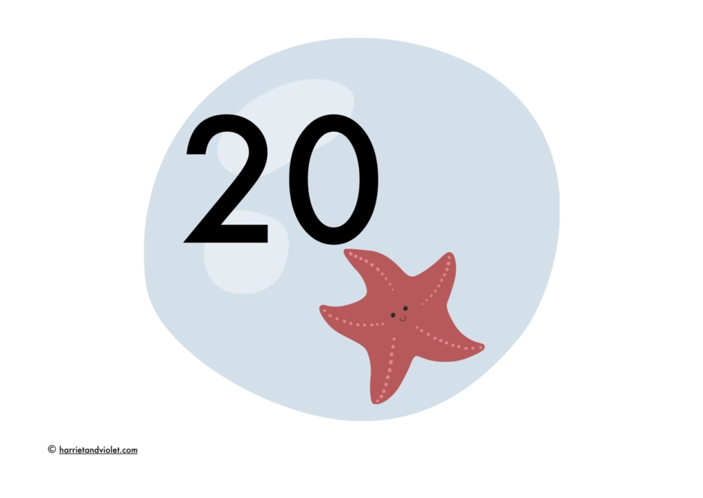 star fish in water bubble numberline