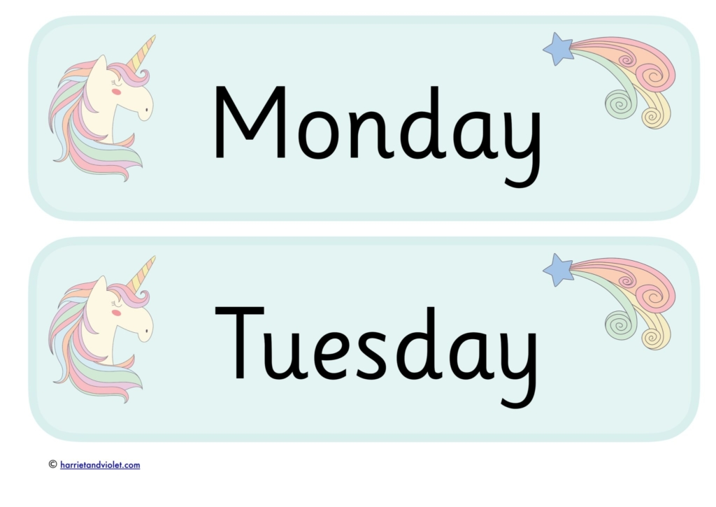 monday tuesday blue with unicorn stars