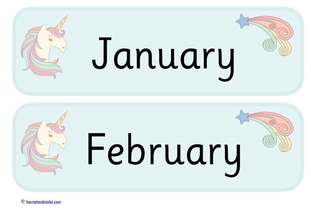 months of the year blue unicorns