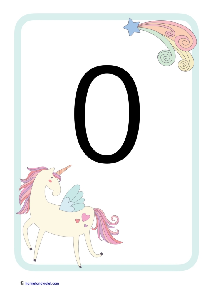 large number with pink unicorn
