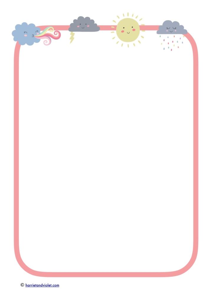 pink border weather symbols