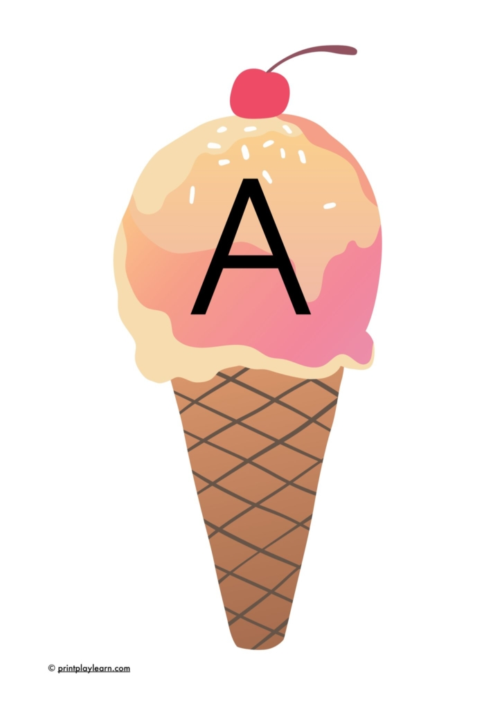 ice cream cone alphabet for classroom display or display lettering