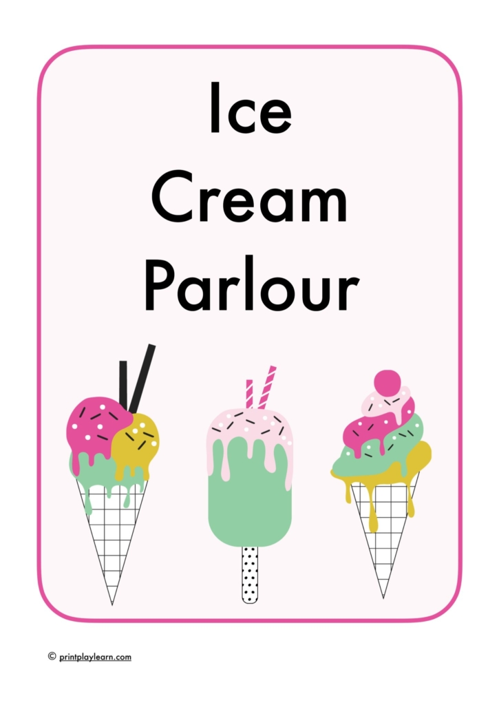 print play learn eyfs ice cream role play pack
