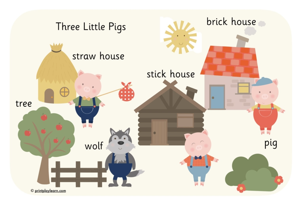 three little pig story word mat
