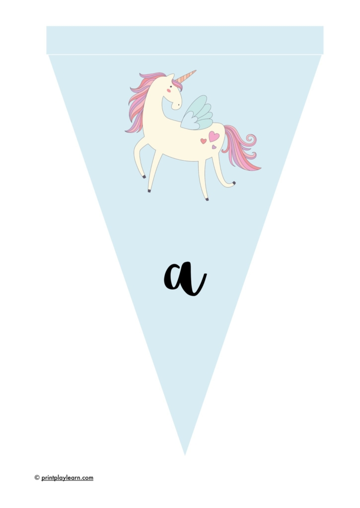 unicorn bunting lower case lettering