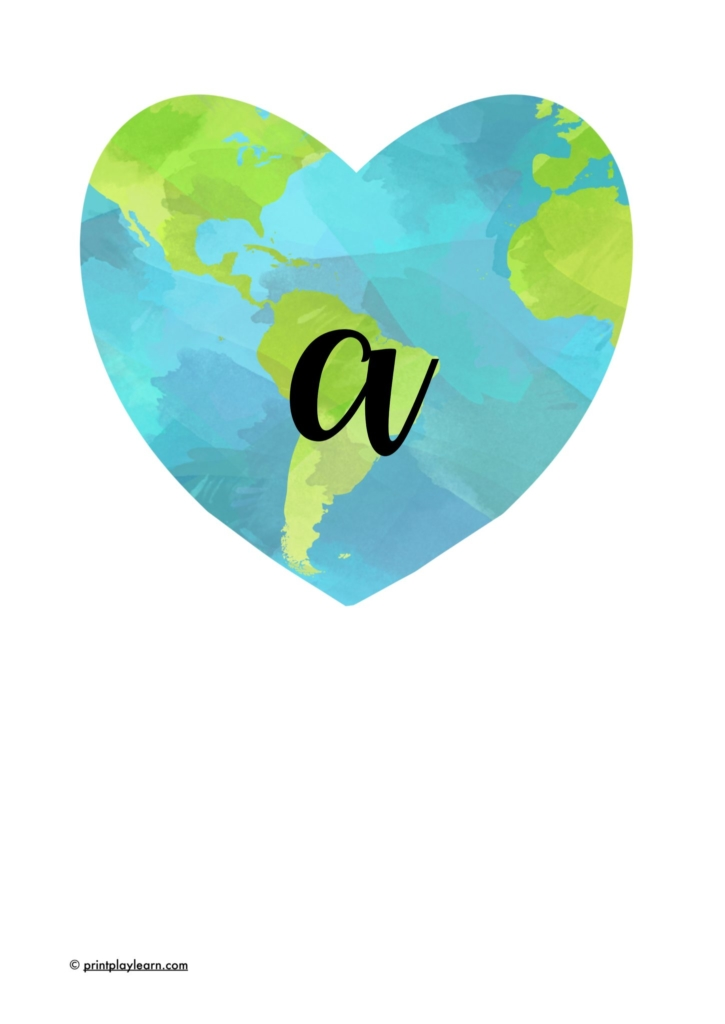 lowercase lettering a-z on earth heart shape