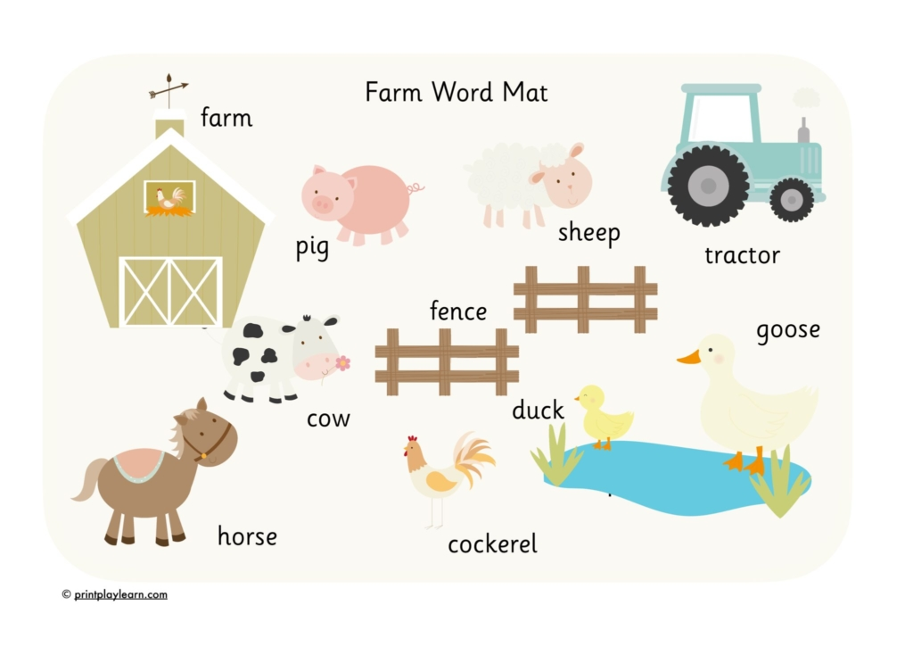EYFS farm word mat