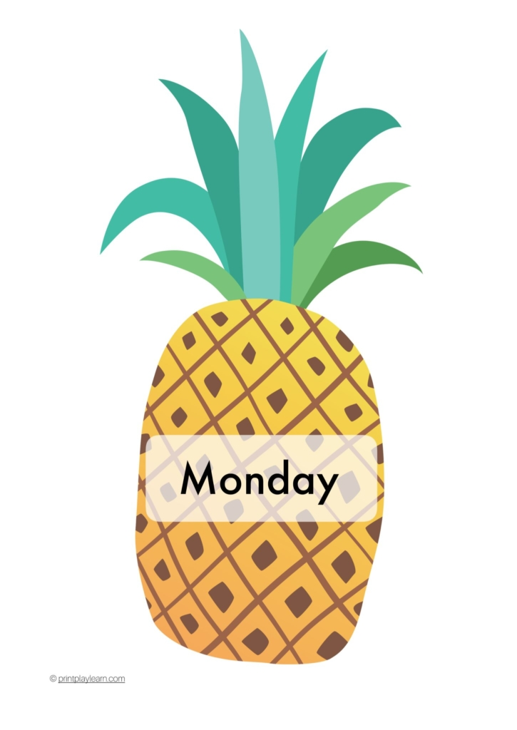 days of the week posters for the classroom pineapples