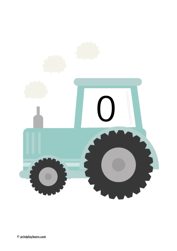 tractor number posters 0-10