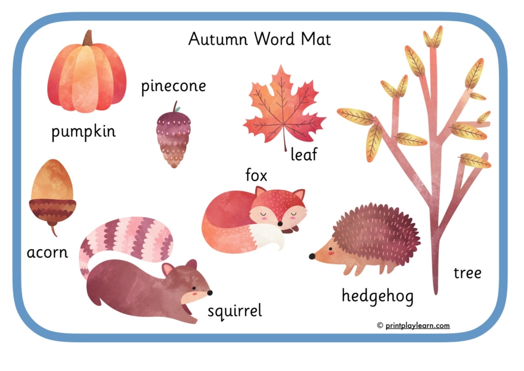 autumn word mat for early years EYFS