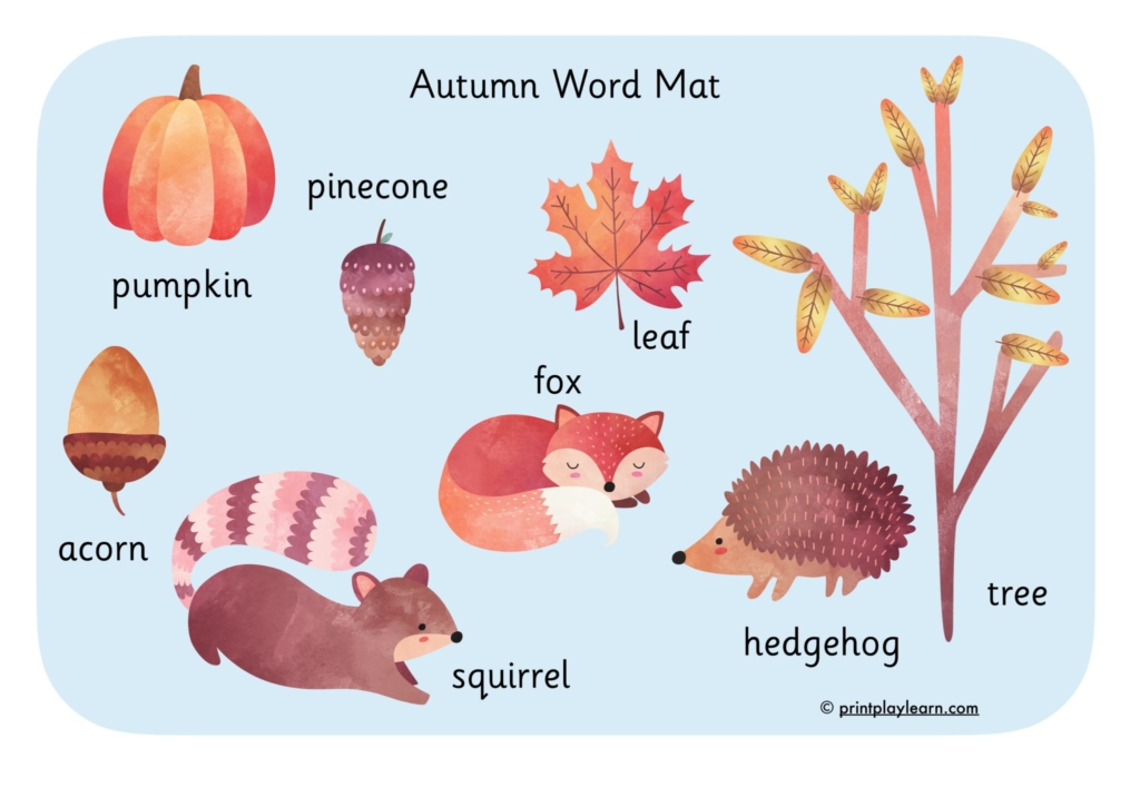 autumn word mat writing early years