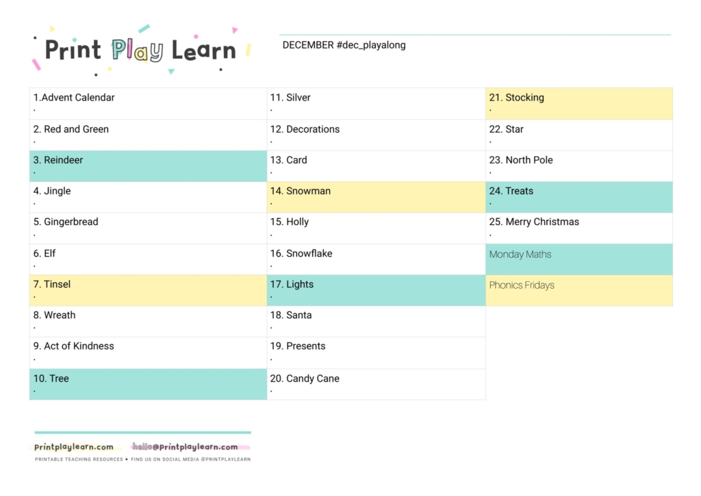 december playalong planning sheet
