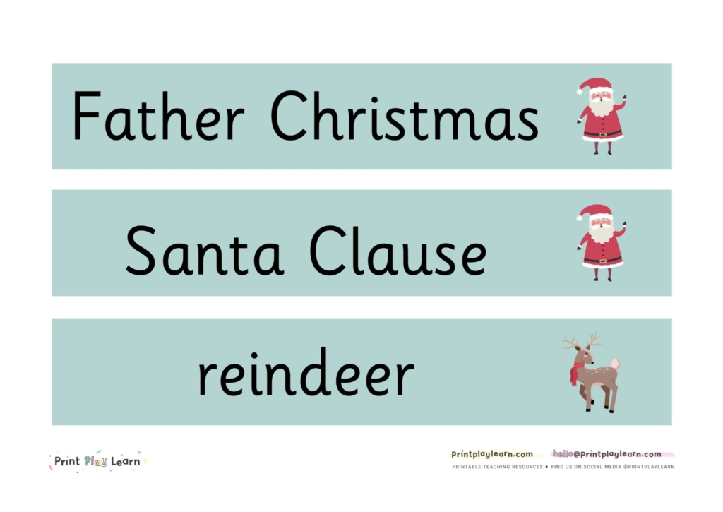 labels for Christmas North Pole Role Play area EYFS