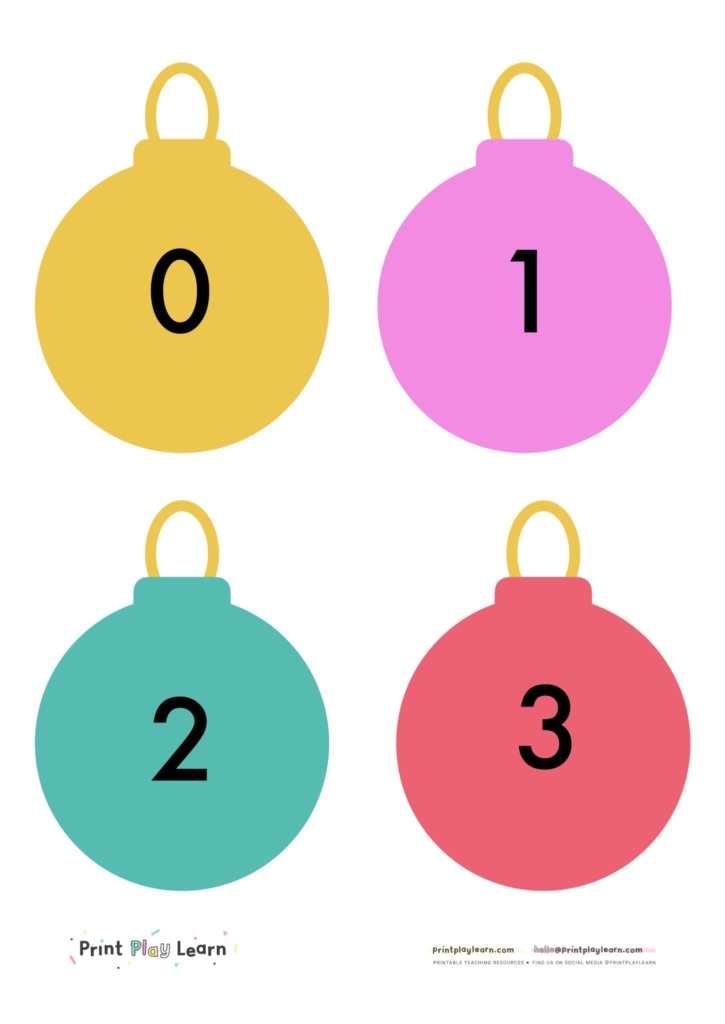Christmas baubles numbers