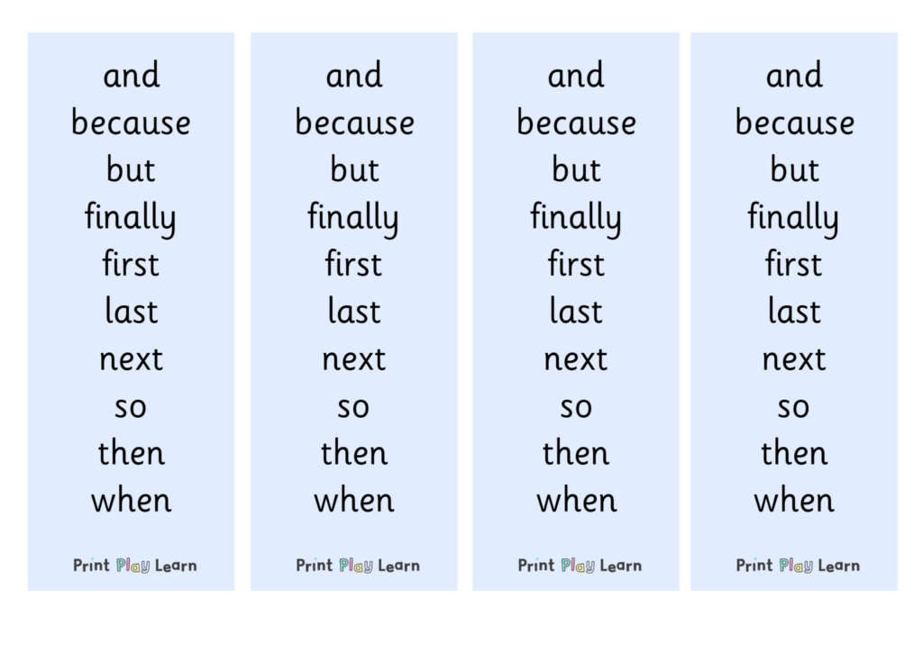 a list of conjunctions to use in an EYFS classroom blue background primary school