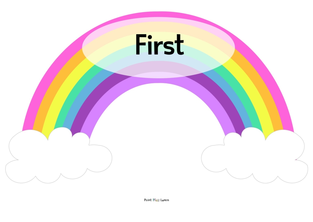 time connectives rainbow display primary