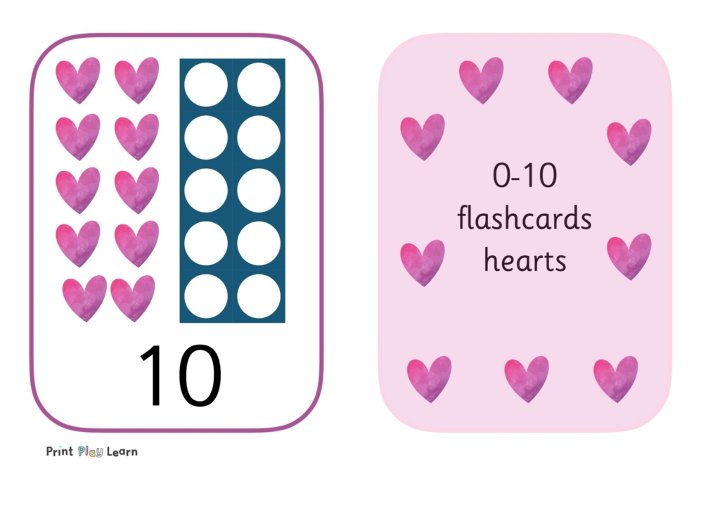 hearts and numicon with number digits and pink border flashcards
