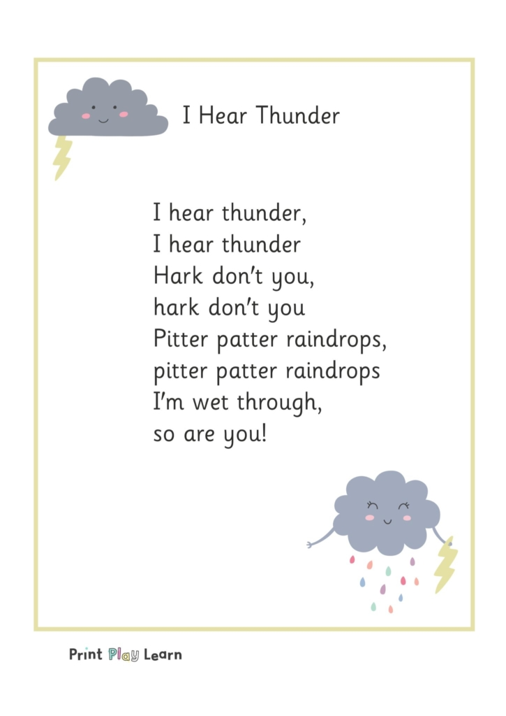 I hear thunder rhyme typed in the middle of the page with a storm cloud image in grey with yellow thrunder