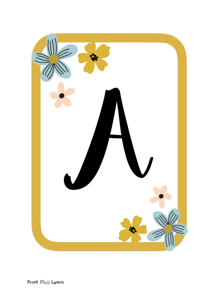mustard yellow border with blue and yellow flowers with each letter of the alphabet on each page