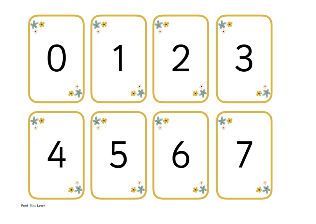 yellow border flashcards with numbers in the middle with flower detail for counting in EYFS or primary counting