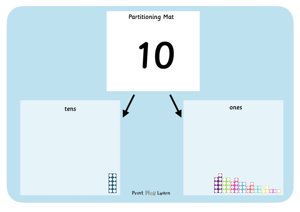 partitioning mat with numbers 10-20 on box to place tens and units maths math learning