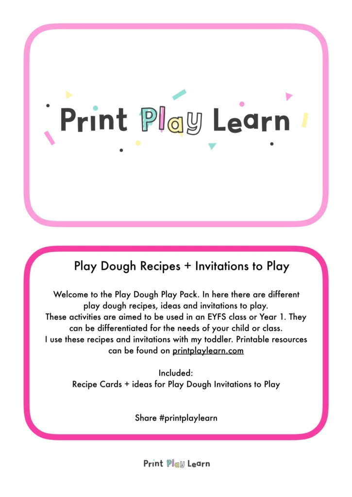 play dough play pack print play learn EYFS early years primary school