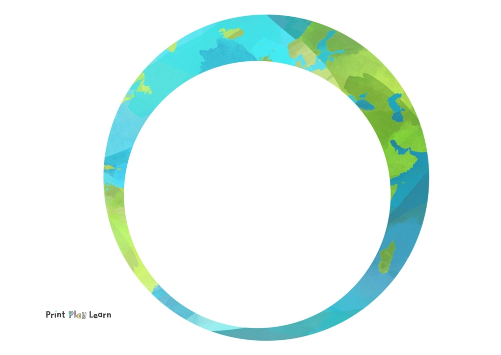 earth drawing with white circle centre for writing or mark making template print play learn
