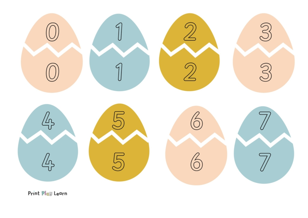 egg matching numbers pastel coloured eggs with white zig zag line 0-15