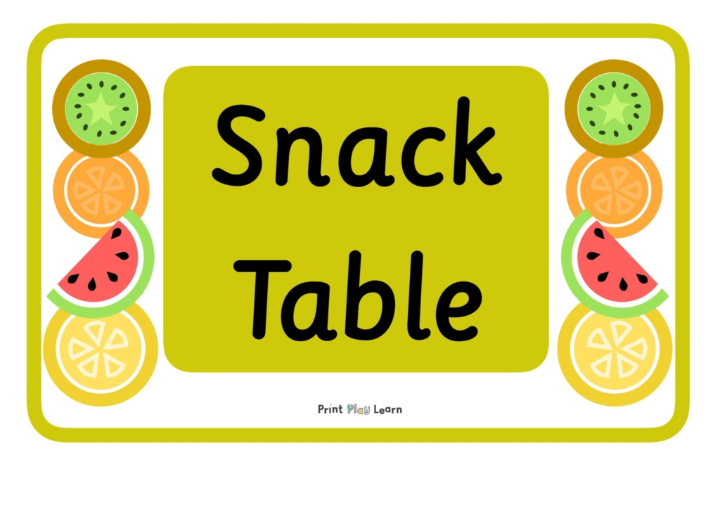 green border writing snack table with images of kiwi orange melon lemon print play learn