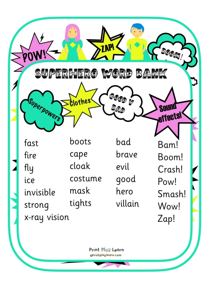 superhero word mat with list of words and images print play learn