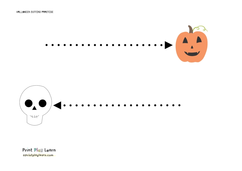 halloween cutting practise print play learn straight dotted line