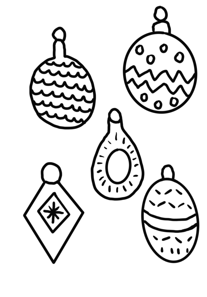 pattern baubles to cut out and colour