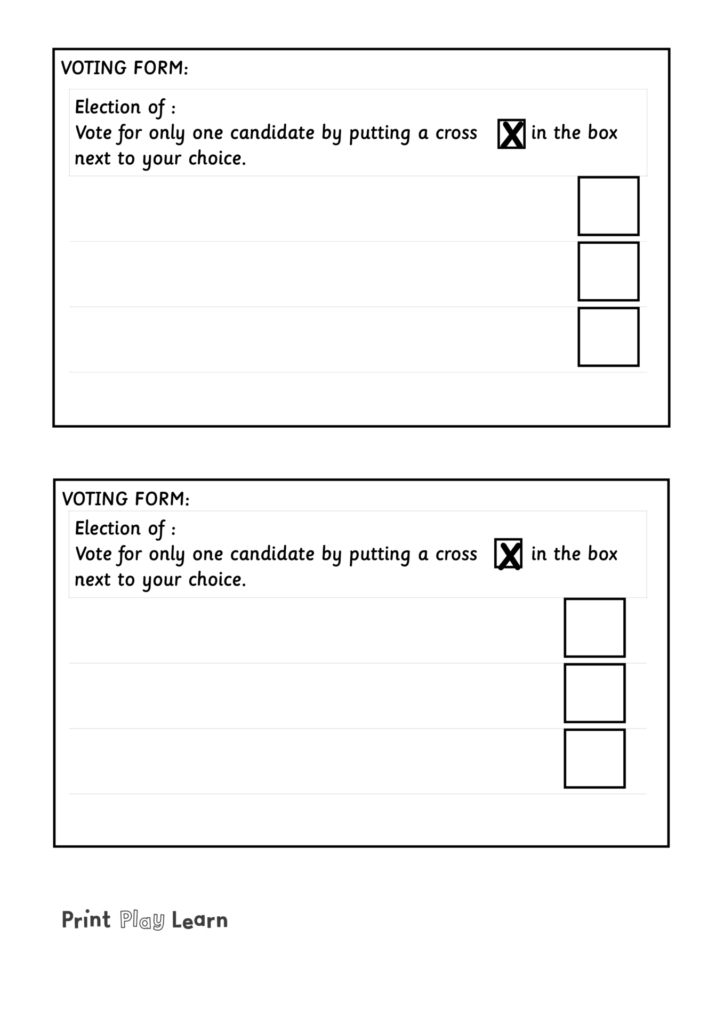 blank outline voting form eyfs print play learn