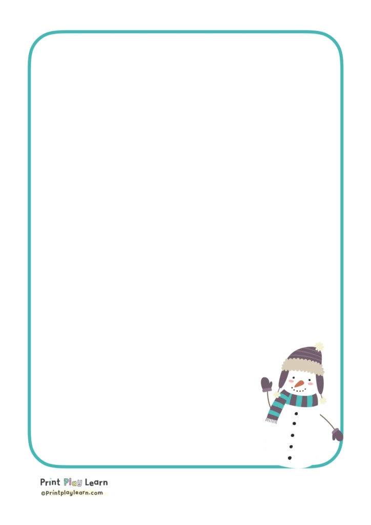 snowman in bottom corner green border paper print play learn