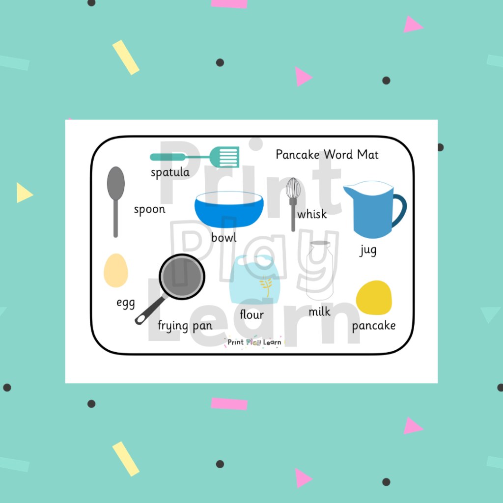 print play learn pancake word mat