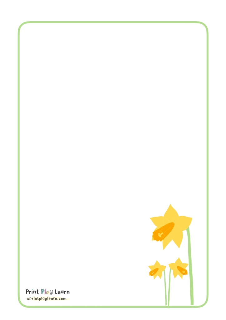 small daffodils on the lower corner of the A4 paper with light green border with print play learn