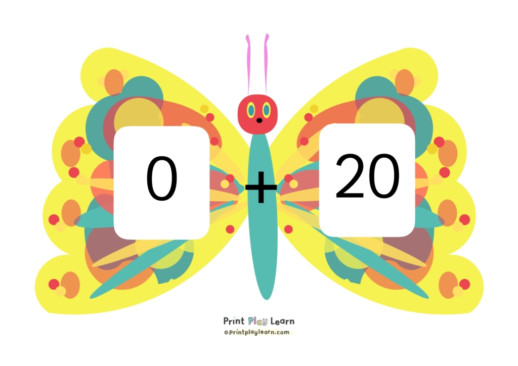 print play learn butterfly number bonds to 20