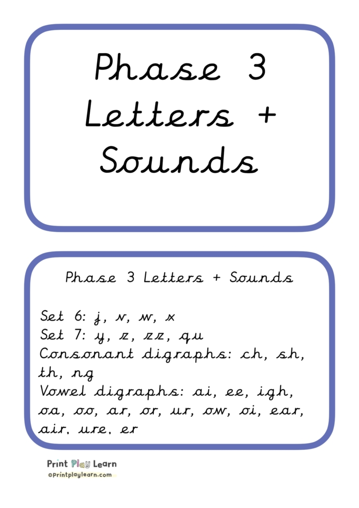 Phase 3 Phonics Letters + Sounds pictures cursive ppl